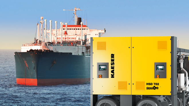 Rotary screw compressors from Kaeser Kompressoren for use on-board ships.